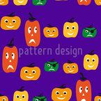 Halloween Pumpkin Heads Seamless Pattern