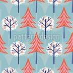 Snow Trees Seamless Vector Pattern Design