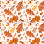 Acorn And Leaf In Cesky Herslak Seamless Pattern