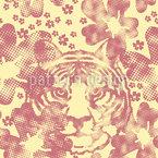 Der Tiger Im Blumengarten Vektor Ornament