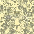 Wilder Tiger Im Blumengarten Nahtloses Muster