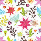 Wir Lieben Blumen Nahtloses Vektormuster