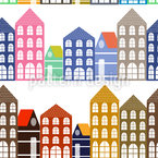 The Houses Of Amsterdam Seamless Vector Pattern Design
