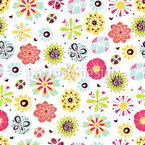 花は夏に輝く シームレスなベクトルパターン設計