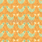 Turtle Doves At Sunset Seamless Vector Pattern Design