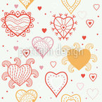 Heart Fantasy Seamless Vector Pattern Design
