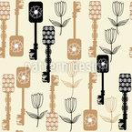Schlüssel Und Blumen Nahtloses Vektormuster