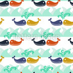 Whales In Love Repeating Pattern