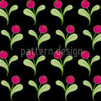 Folk Flowers on Black Pattern Design