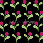 Folklore Blumen auf Schwarz Musterdesign