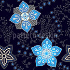 Floral Night Compliments Seamless Vector Pattern Design