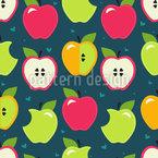 Morda as maçãs Design de padrão vetorial sem costura