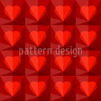 Ruby Hearts Seamless Vector Pattern Design