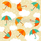 Umbrellas In The Evening Rain Seamless Vector Pattern Design
