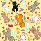 Wir Lieben Katzen Nahtloses Vektormuster