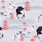 Hanami Cherry Blossoms At Dawn Design Pattern