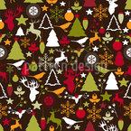 Weihnachten Im Wald Nahtloses Vektor Muster
