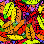 Leaf Expression In Pop Art Seamless Vector Pattern Design
