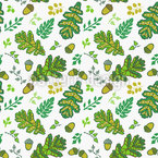 Acorn And Leaf In The Prague Spring Repeat Pattern