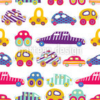 Car Convoy Seamless Vector Pattern Design