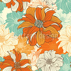 Hand-drawn flowers of dahlia Seamless Vector Pattern Design