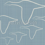 The Geese Fly On Denim Seamless Pattern
