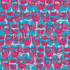 So Funny Owls Seamless Vector Pattern Design
