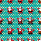 Happy Santa Seamless Vector Pattern Design