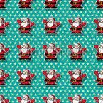 Weihnachtsmann Im Glück Nahtloses Vektormuster