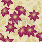 Clematis Dreamgarden Estampado Vectorial Sin Costura