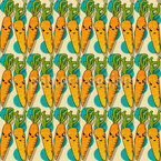 Kawaii Carrot Seamless Vector Pattern Design