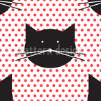Polka Cats Seamless Vector Pattern Design