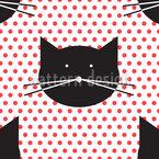 Polka Katzen Nahtloses Vektor Muster