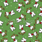 Rudolph The Red Nosed Reindeer Seamless Vector Pattern Design