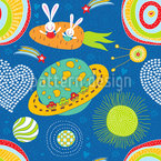 Space Bunnies Seamless Vector Pattern Design