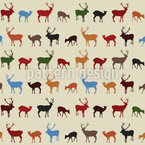 Reindeer Gathering Seamless Vector Pattern Design