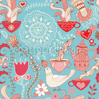 Tea Party Seamless Vector Pattern Design