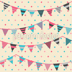Sweet Festoons On Polkadots Vector Pattern