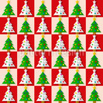 Chess With Christmas Trees Seamless Vector Pattern Design