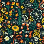 Sommerblumen Bei Nacht Nahtloses Vektormuster
