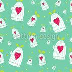 Сердца Открытые двери Клетки Бесшовный дизайн векторных узоров