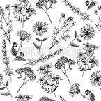 Heilende Blumen Nostalgie Nahtloses Vektormuster