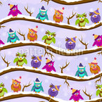 The Cute Winter Owls Vector Pattern