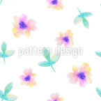 Delicate Watercolor Flowers Seamless Vector Pattern Design