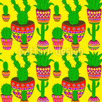 Mexican Cactus Seamless Vector Pattern Design
