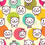 Cat King And Friends Seamless Vector Pattern Design