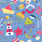 Funny Ocean Seamless Vector Pattern Design