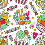 Colorido Cup Cake World Estampado Vectorial Sin Costura