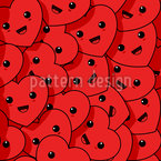 Happy Kawaii Corazones Estampado Vectorial Sin Costura