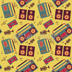 Retro Sound Machines Seamless Vector Pattern Design